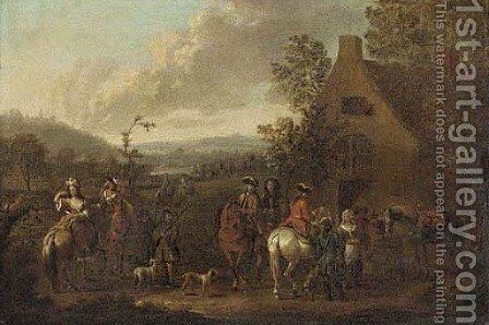 A landscape with an elegant hunting party before an inn by (after) Dirck Maas - Reproduction Oil Painting