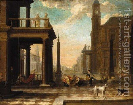 A capriccio of a classical city with Esther and Ahasuerus by (after) Dirck Van Delen - Reproduction Oil Painting