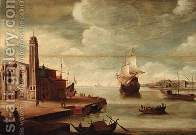 An Italianate harbour with a church on a quayside by (after) Dirck Verhaert - Reproduction Oil Painting