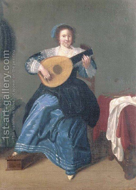 An elegant woman playing the lute in an interior by (after) Dirk Hals - Reproduction Oil Painting
