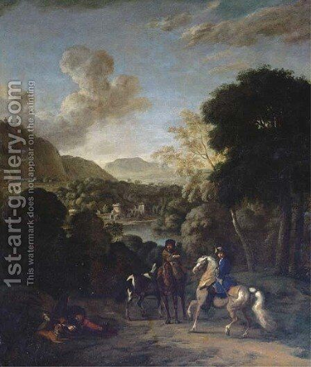 A hawking party in a wooded landscape with a villa by a lake beyond by (after) Dirck Maas - Reproduction Oil Painting