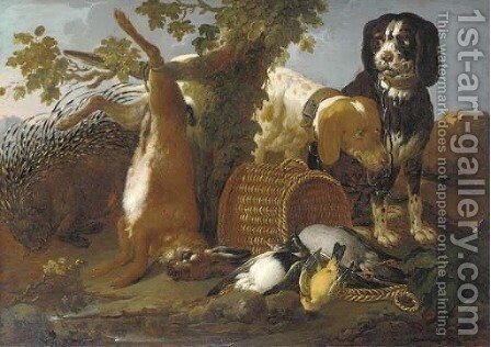 Spaniels, a porcupine, a hare and game in a landscape by (after) Domenico Brandi - Reproduction Oil Painting