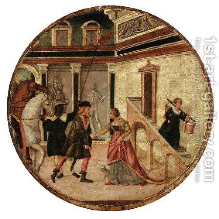 Tarquin saluting Lucretia by (after) Domenico Morone - Reproduction Oil Painting