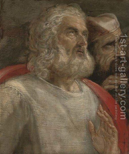 Two men looking upward a fragment by (after) Domenico Tintoretto (Robusti) - Reproduction Oil Painting