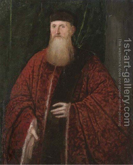 Portrait of a Venetian Senator by (after) Domenico Tintoretto (Robusti) - Reproduction Oil Painting