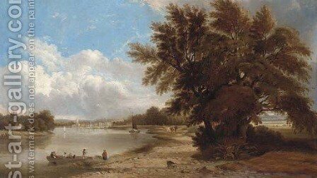 Figures in a river landscape by (after) Edmund John Neimann - Reproduction Oil Painting