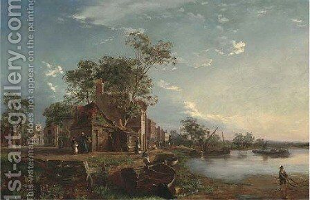 Along the shore, Wandsworth by (after) Edmund John Niemann - Reproduction Oil Painting
