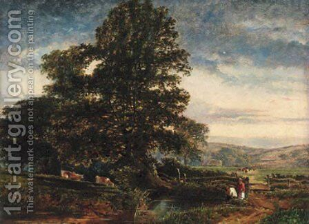 Young anglers in a wooded landscape by (after) Edmund John Niemann - Reproduction Oil Painting