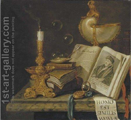 A vanitas still life by (after) Edwaert Collier - Reproduction Oil Painting