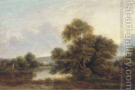A tranquil backwater by (after) Edward Charles Williams - Reproduction Oil Painting