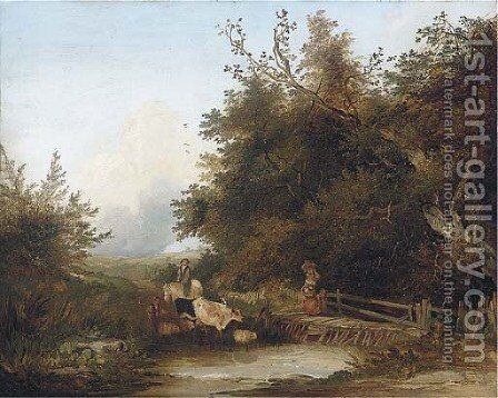 Going to market, view near West Broughton by (after) Edward Charles Williams - Reproduction Oil Painting