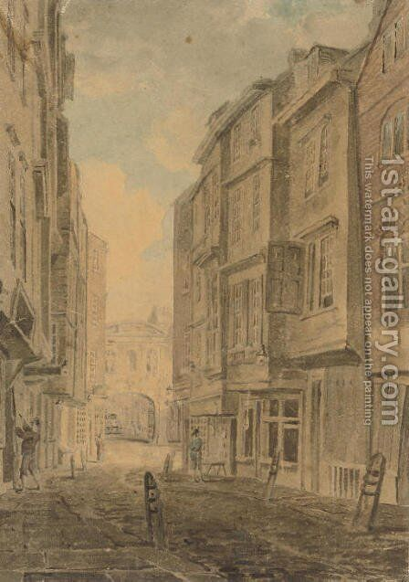 Butchers Row and Temple Bar, London by (after) Dayes, Edward - Reproduction Oil Painting