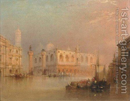 Vessels before St Mark's Square, Venice by (after) Edward Pritchett - Reproduction Oil Painting