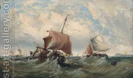 Fishing boats in a swell by (after) Edwin Hayes - Reproduction Oil Painting