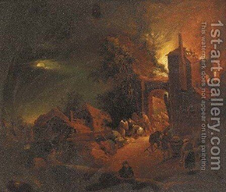 A house on fire at night by (after) Egbert Van Der Poell - Reproduction Oil Painting