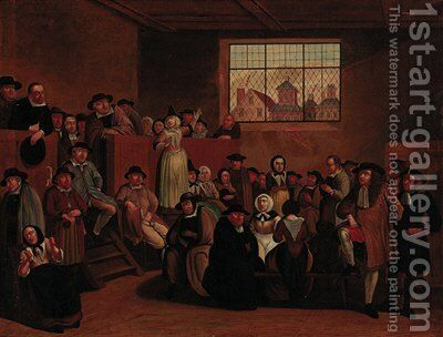 A Quaker meeting by (after) Egbert Van The Elder Heemskerk - Reproduction Oil Painting