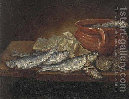 Herrings, oysters and an earthenware dish on a ledge by (after) Elena Recco - Reproduction Oil Painting
