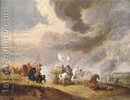 A cavalry skirmish by (after) Horace Vernet - Reproduction Oil Painting