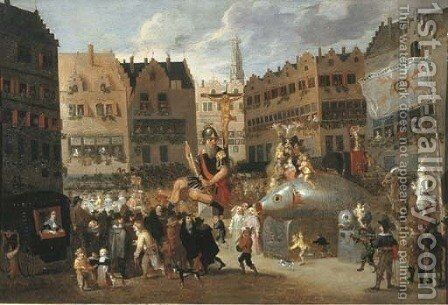 The Ommegang in Antwerp by (after) Erasmus De Bie I - Reproduction Oil Painting