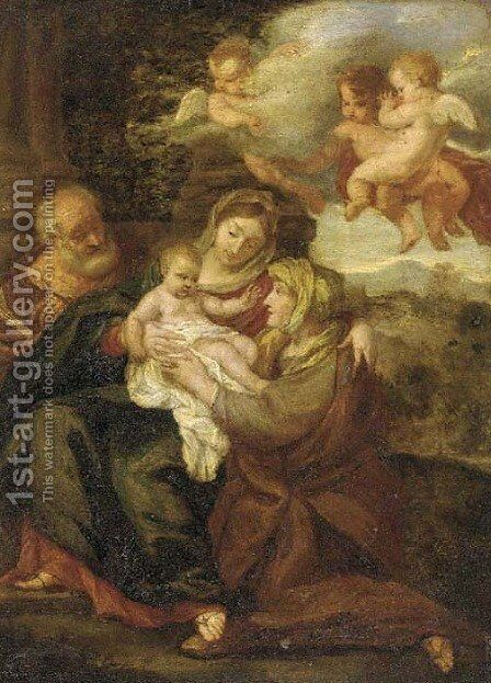 The Holy Family with Saint Elisabeth by (after) Erasmus II Quellin (Quellinus) - Reproduction Oil Painting
