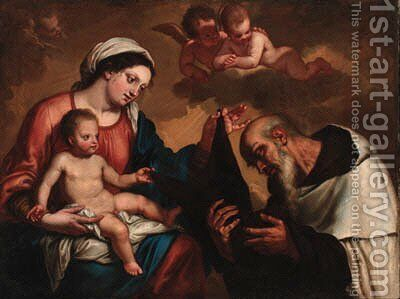 The Madonna and Child with Saint Dominic by (after) Erasmus II Quellin (Quellinus) - Reproduction Oil Painting