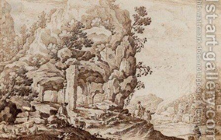 A capriccio landscape with a shepherd and his herd by (after) Ercole Bazzicaluva - Reproduction Oil Painting