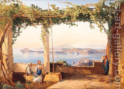 Figures Under A Pergola With The Bay Of Naples Beyond by (after) Ercole Gigante - Reproduction Oil Painting