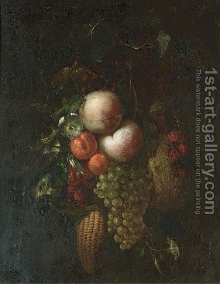 Peaches, grapes on the vine by (after) Ernst Stuven - Reproduction Oil Painting