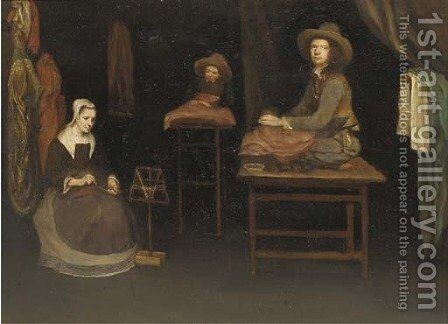 An interior with a family making cloth by (after) Esaias Boursse - Reproduction Oil Painting