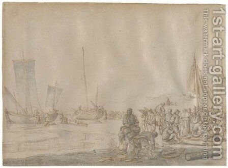 Fishermen on the shore, ships beached beyond by (after) Esaias Van Den Velde - Reproduction Oil Painting