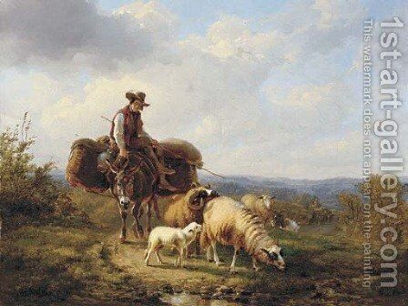 Driving home the flock by (after) Eugene Joseph Verboeckhoven - Reproduction Oil Painting