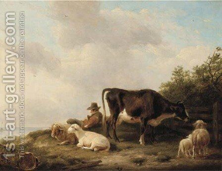 A drover and his flock on a hillside by (after) Eugene Joseph Verboeckhoven - Reproduction Oil Painting