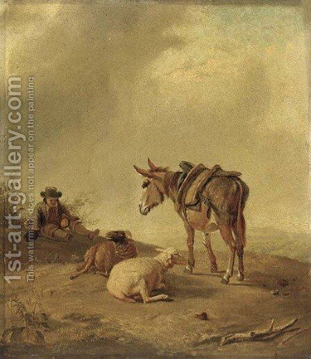 A pastoral landscape with a traveller and his donkey resting by two sheep by (after) Eugene Joseph Verboeckhoven - Reproduction Oil Painting