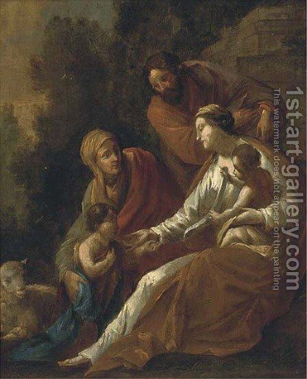 The Holy Family with Saint Elizabeth and the Infant Saint John the Baptist by (after) Eustache Le Sueur - Reproduction Oil Painting