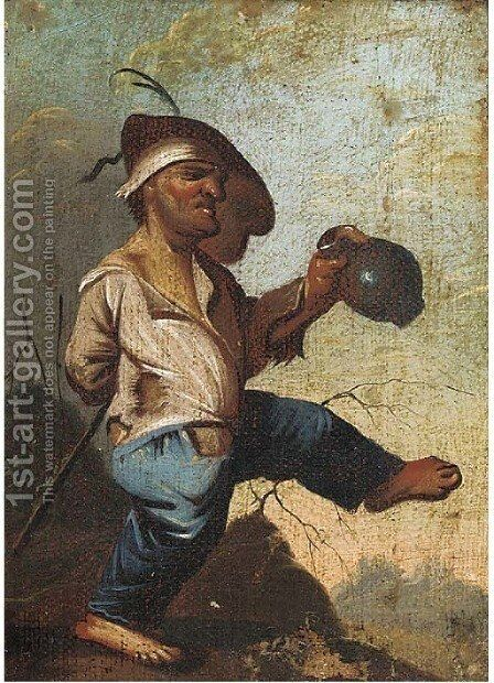 A drinking dwarf, a fragment by (after) Faustino Bocchi - Reproduction Oil Painting