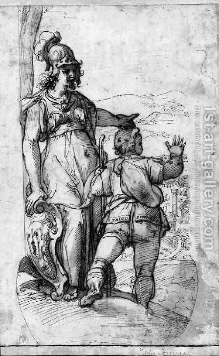 Minerva showing Taddeo the prospect of Rome by (after) Federico Zuccaro - Reproduction Oil Painting