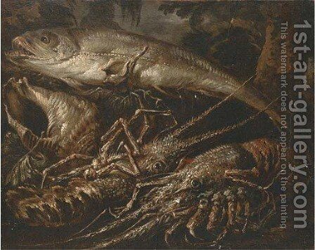 Two lobsters, a salmon and shells on a forest floor by (after) Felice Boselli - Reproduction Oil Painting