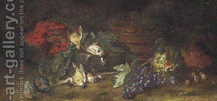A watermelon, figs, dead birds and grapes on the vine in a clearing by (after) Felice Rubbiani - Reproduction Oil Painting