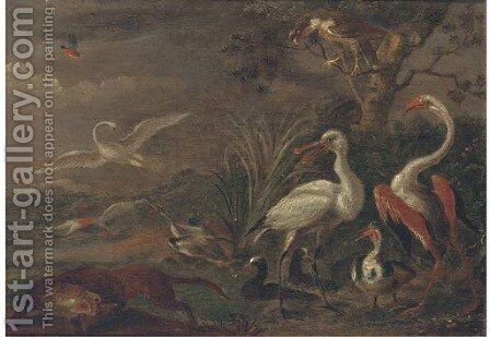 A fox chasing birds in a landscape by (after) Ferdinand Van Kessel - Reproduction Oil Painting