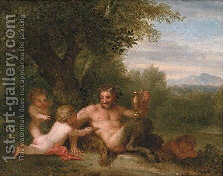 A wooded landscape with a satyr and two putti by (after) Filippo Lauri - Reproduction Oil Painting
