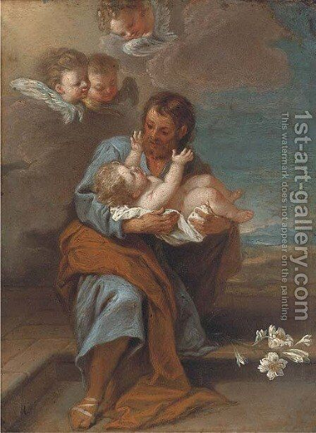 Saint Joseph and the Infant Christ with Cherubim by (after) Filippo Lauri - Reproduction Oil Painting