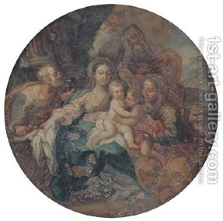 The Holy Family with Saints Elizabeth, Zacharias and the Infant Saint John the Baptist by (after) Filippo Lauri - Reproduction Oil Painting