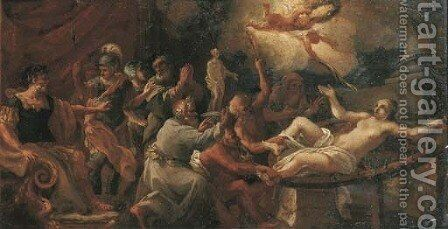 The Martyrdom of Saint Catherine by (after) Filippo Lauri - Reproduction Oil Painting