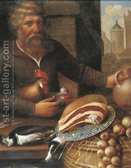 A peasant selling ham, onions and poultry at a market by (after) Floris Gerritsz. Van Schooten - Reproduction Oil Painting