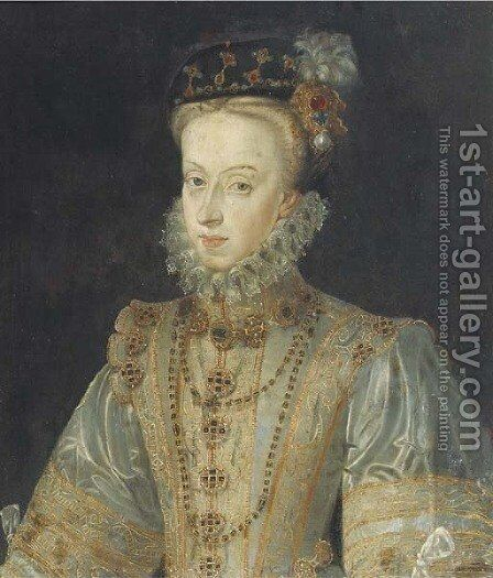Portrait of Maria of Austria, half-length, in a silver silk dress by (after) Clouet, Francois - Reproduction Oil Painting