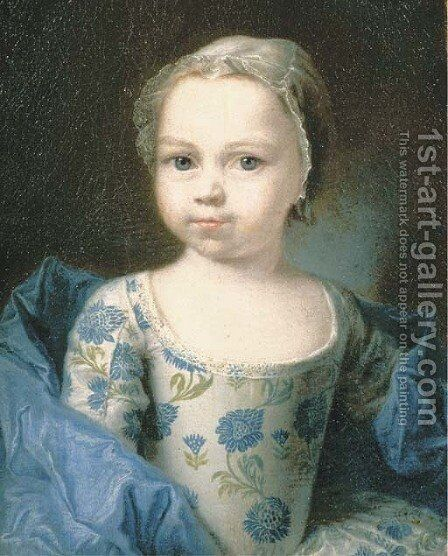 Portrait of a young girl, small half-length, in a white silk dress with a blue floral pattern and a blue silk shawl, with a lace headdress by (attr. to) Drouais, Francois-Hubert - Reproduction Oil Painting