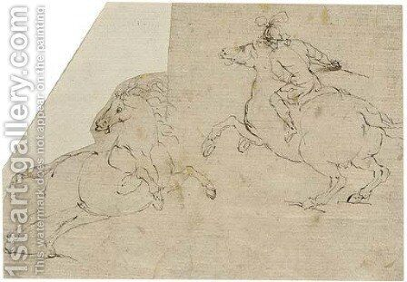 A horseman in profile to the left and a rearing horse in profile to the right by (after) Francesco Allegrini - Reproduction Oil Painting