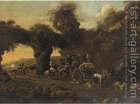 Travellers ambushed by brigands on a mountainous pass by (after) Francesco Giuseppe Casanova - Reproduction Oil Painting
