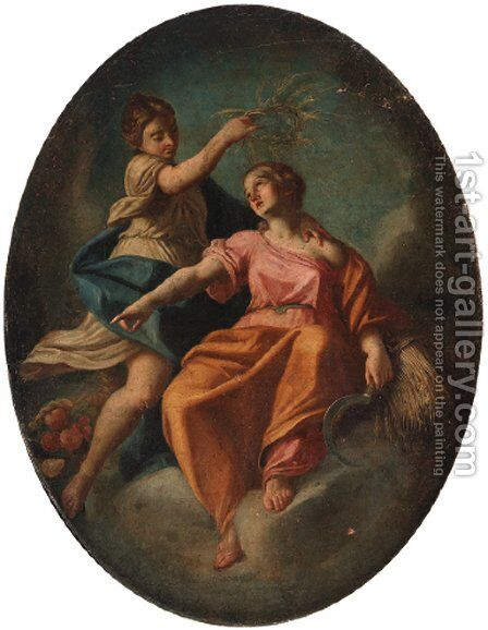 Ceres being crowned by a female attendant by (after) Francesco De Mura - Reproduction Oil Painting