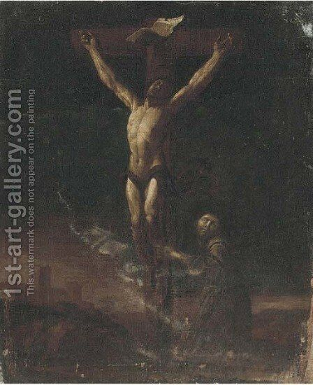 The Crucifixion with Saint Francis in adoration by (after) Francesco Del Cairo - Reproduction Oil Painting
